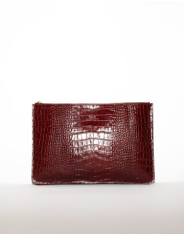 DOCUMENT ZIP CLUTCH | Cognac Croc