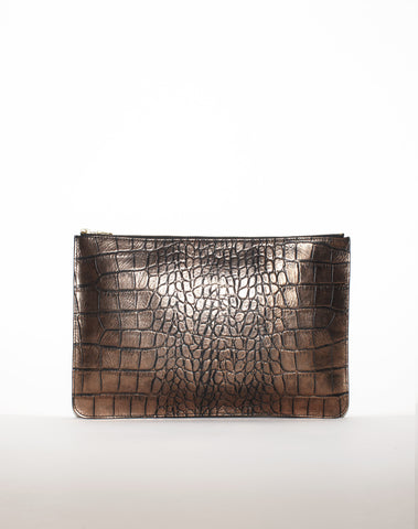 DOCUMENT ZIP CLUTCH | Bronze Croc