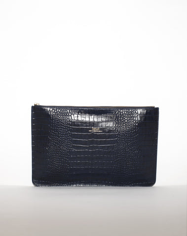 DOCUMENT ZIP CLUTCH | Onyx Croc