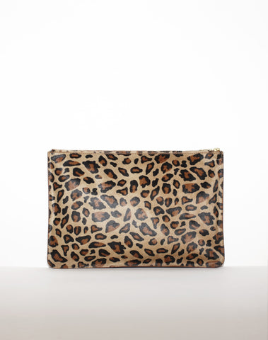 DOCUMENT ZIP CLUTCH | Tan Leopard