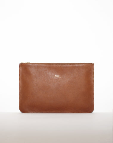 DOCUMENT ZIP CLUTCH | Tan