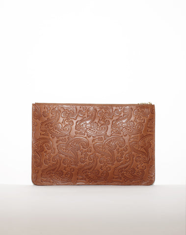 DOCUMENT ZIP CLUTCH | Tan Paisley