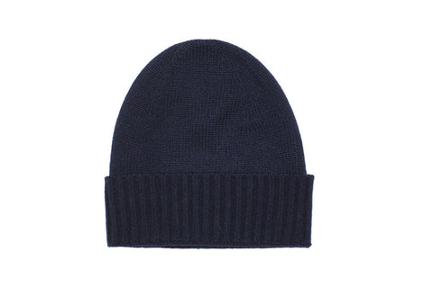PURE CASHMERE BEANIE | Midnight Navy