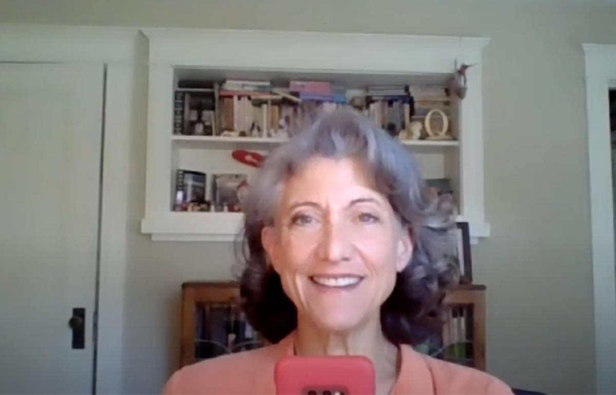 Amy Aquino takes a selfie on Zoom