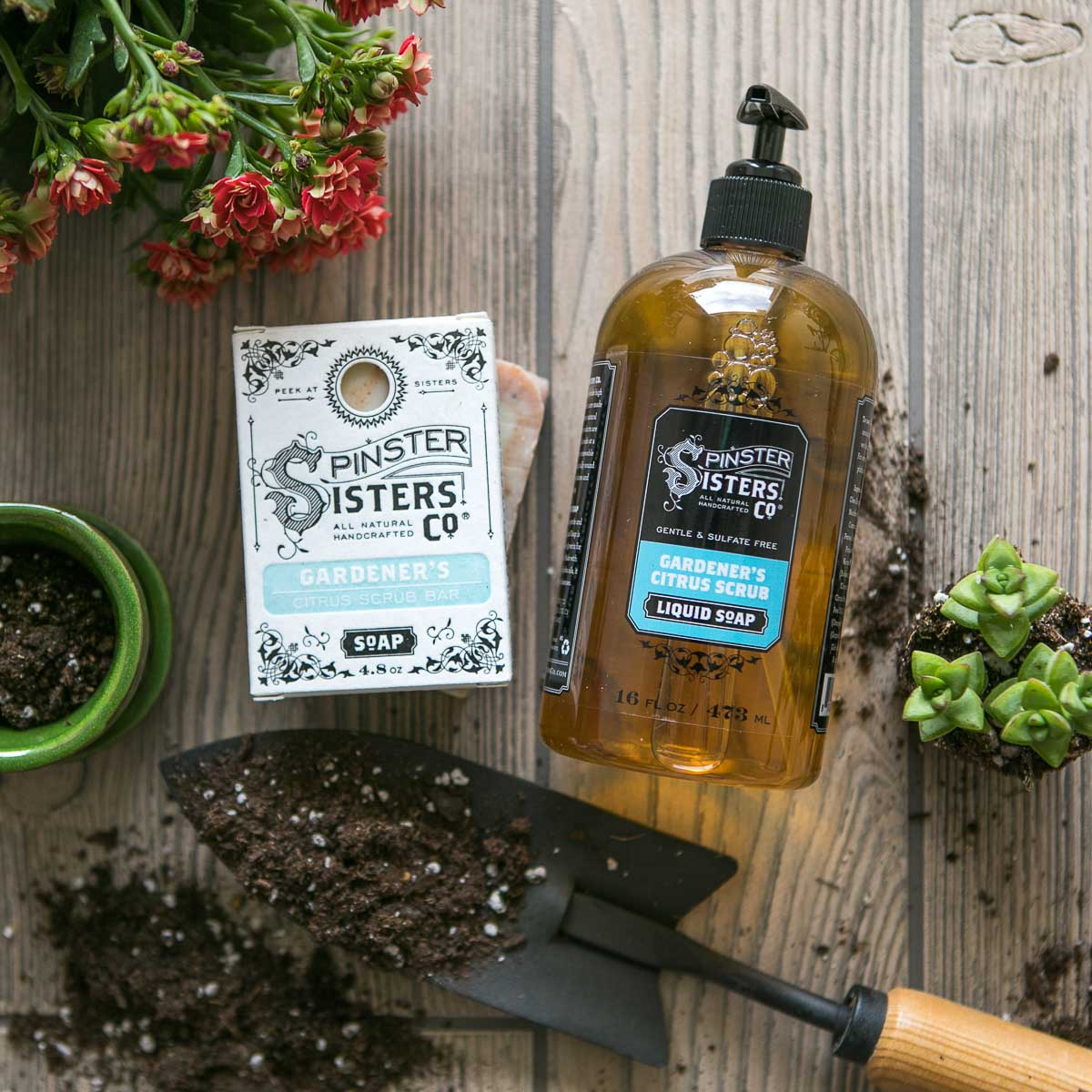 Natural liquid soap and natural bar soap with gardening inspired essential oils