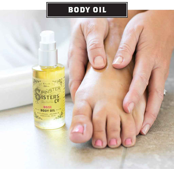 A well-manicured foot has oil rubbed in during massage