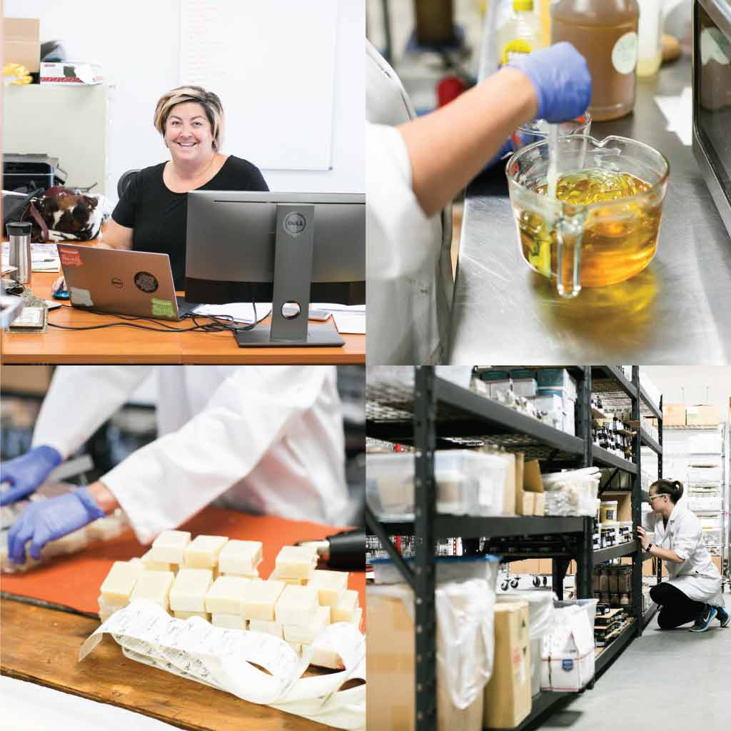 Collage of the CEO's office, mixing Lip Balm, packaging soap, and product on shelves