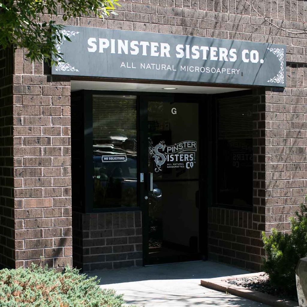 Front entrance with Spinster Sisters Co. sign