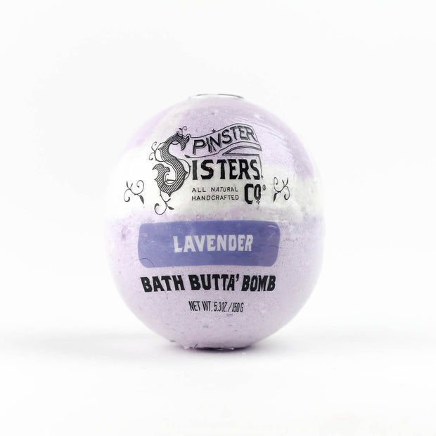 Lavender bath bomb in biodegradable wrapper