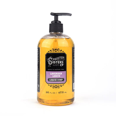 A 16 oz. hand pump bottle of Lavender Lemon liquid hand and body soap