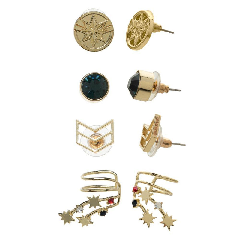 Marvel Accessories Captain Marvel Ear Cuffs Jewelry Stud Earrings - 4-Pack