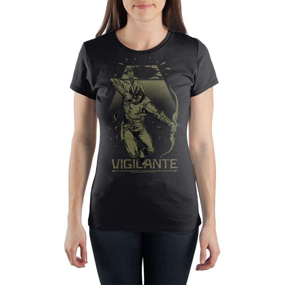 DC Comics Green Arrow Vigilante Women's Black Tee Shirt T-Shirt
