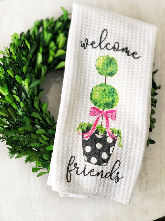 Kitchen Towel- Topiary Welcome Friends