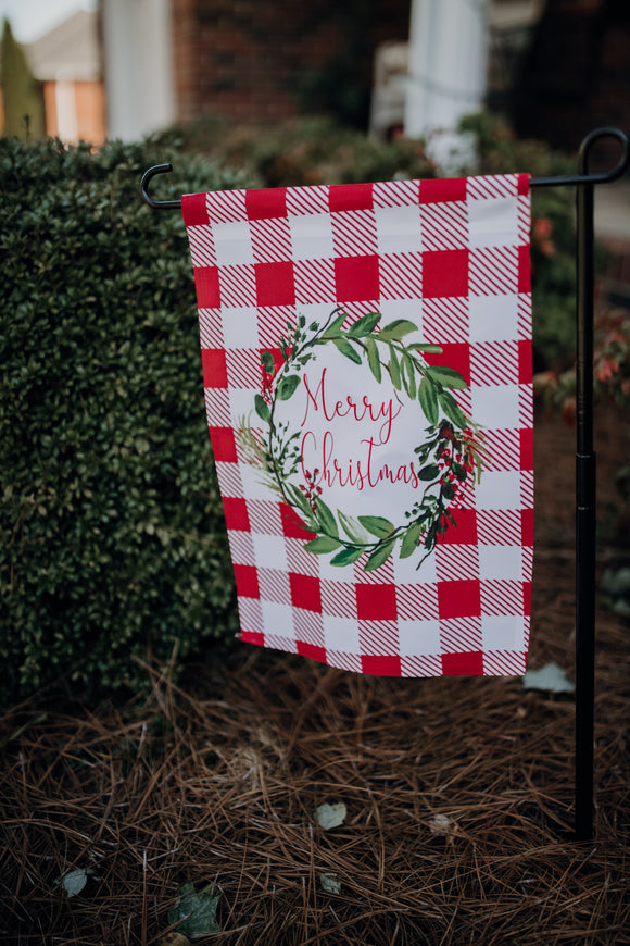 Merry Christmas Wreath Garden Flag