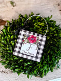 Buffalo Check Floral Inital Mini Sign