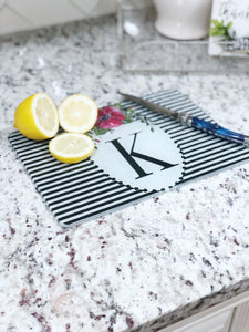 Floral Inital Cutting Board
