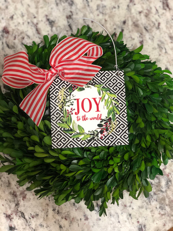 Joy Christmas Wreath Mini Sign
