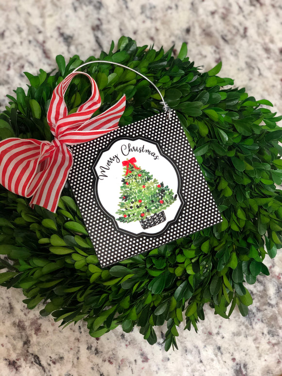 Merry Christmas Tree Mini Sign