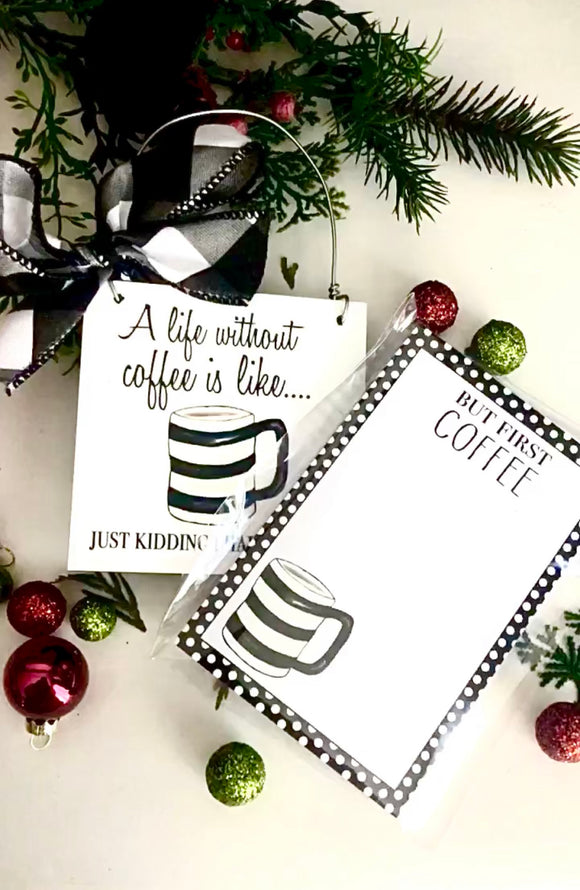 Gifft Set ( Life without Coffee Notepad and Mini)