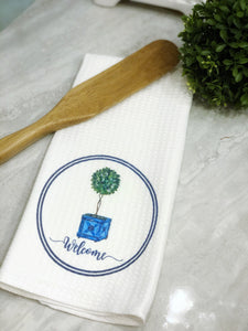 Topiary Welcome Kitchen Towel