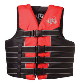 Full Throttle Adult Dual-Sized Nylon Ski Vest, Red & Black