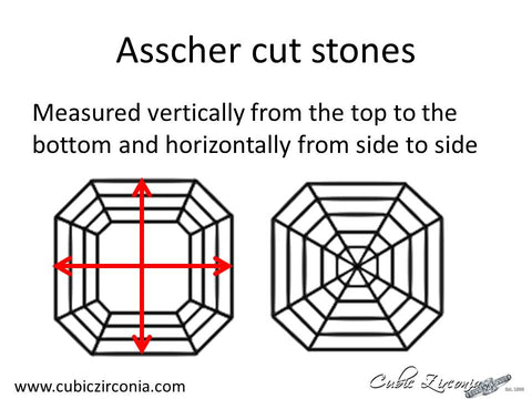 Asscher cut loose stone measurement diagram