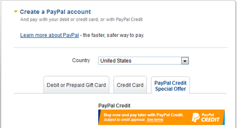 either register for a new paypal account
