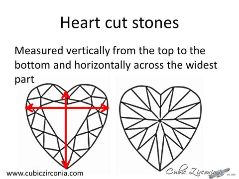 Heart cut loose stone measurement diagram