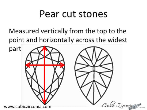 Pear cut loose stone measurement diagram