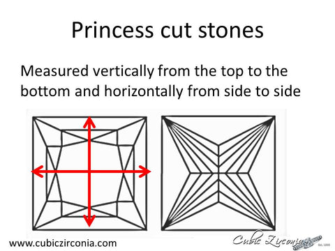 Princess cut loose stone measurement diagram