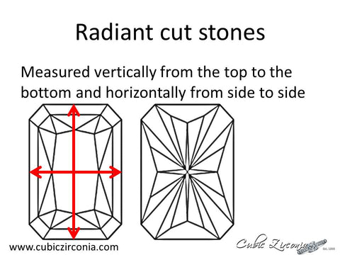 Radiant cut loose stone measurement diagram
