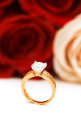 cubic zirconia engagement ring with roses