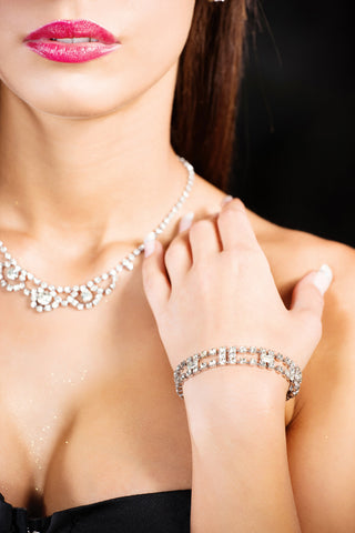 cubics zirconia bracelet, necklace, and earrings
