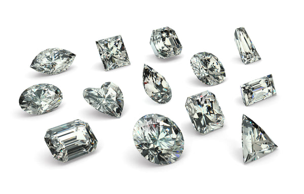 "3d images of loose ""diamond"" clear cubic zirconia stones"