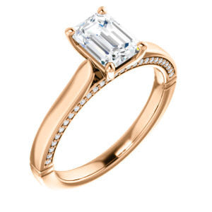 Cubic Zirconia Engagement Ring- The Tonja (Customizable Radiant Cut Semi-Solitaire with Dual Three-sided Pavé Band)