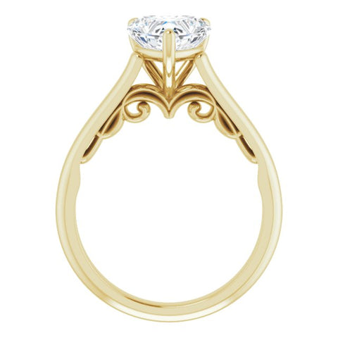 14K White & Yellow Gold Customizable Heart Cut Cathedral Solitaire with Two-Tone Option Decorative Trellis 'Down Under'