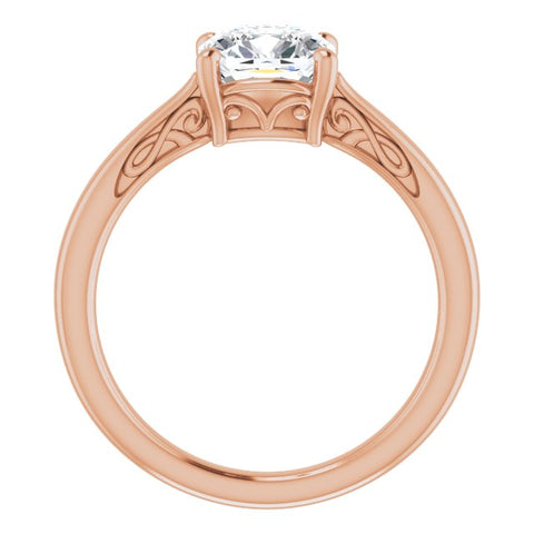 10K Rose Gold Customizable Cushion Cut Solitaire with 'Incomplete' Decorations