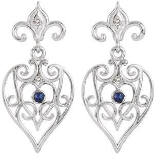 Cubic Zirconia Earrings- 0.08 Carat Fleur De Lis Inspired Decorative Dangle Earring Set with Genuine Blue Sapphire