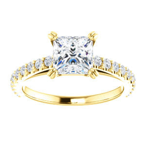 Cubic Zirconia Engagement Ring- The Marianne (Customizable Cathedral-set Princess Cut Style with Thin Pavé Band)