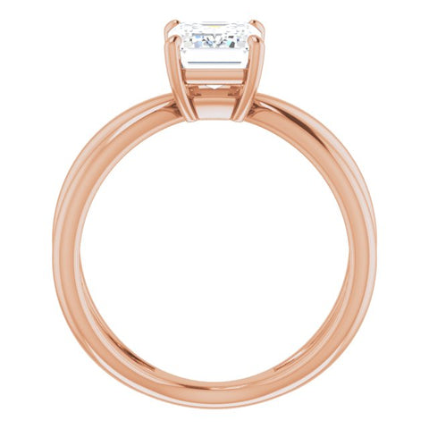 10K Rose Gold Customizable Emerald/Radiant Cut Solitaire with Semi-Atomic Symbol Band