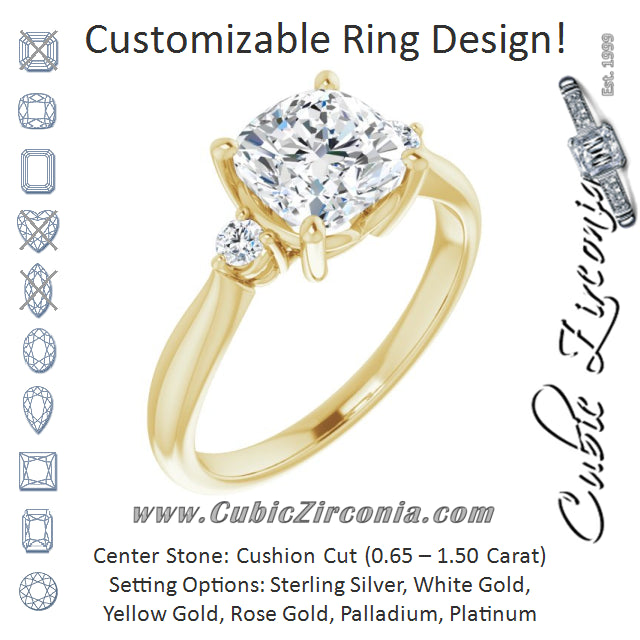 Cubic Zirconia Engagement Ring- The Amariah (Customizable 3-stone Cushion Cut Design with Twin Petite Round Accents)