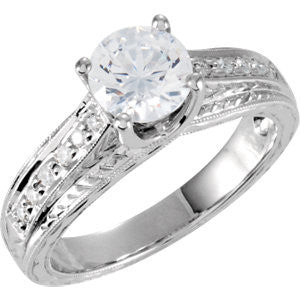 Cubic Zirconia Engagement Ring- The Matilda (1.12 Carat TCW Round or Asscher Vintage 13-stone)
