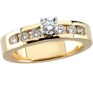 Cubic Zirconia Engagement Ring- The Delaina (Customizable 7-stone with Round Channel Accents)