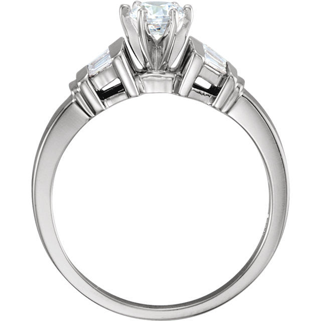 Cubic Zirconia Engagement Ring- The Lucy (Customizable 7-stone with Tapered Baguettes)
