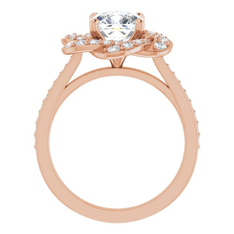 10K Rose Gold Customizable Cathedral-raised Cushion Cut Design with Floral/Knot Halo and Thin Accented Band