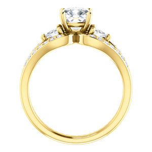 Cubic Zirconia Engagement Ring- The Karen (Customizable Enhanced 3-stone Design with Cushion Cut Center, Dual Trillion Accents and Wide Pavé-Split Band)