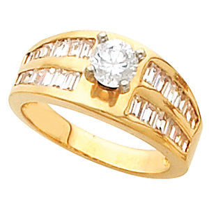 Cubic Zirconia Engagement Ring- The Juliana (Customizable Center with Double Row of Channel-set Baguettes)