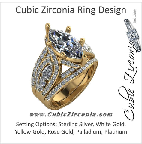 CZ Wedding Set, Style 11-06 feat The Donella Vintage Engagement Ring (6.68 TCW Marquise Cut) 3 ring set