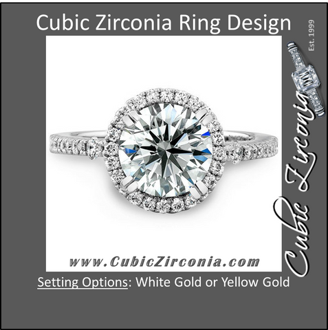 Cubic Zirconia Engagement Ring- The ________ Naming Rights 1127 (Round Cut Halo with Pavé and Cathedral Prong Accents)
