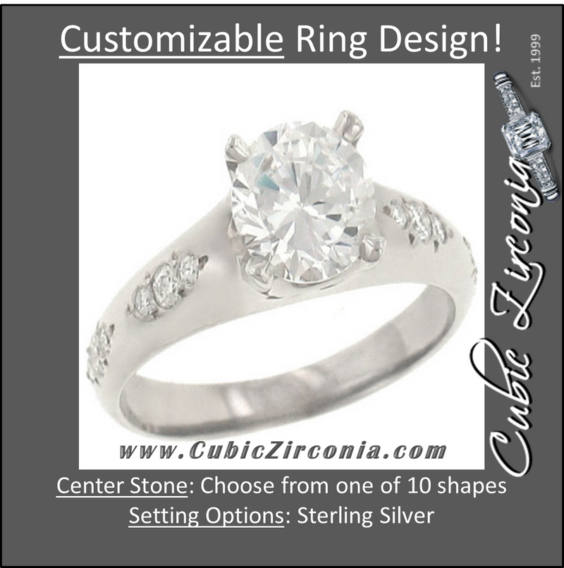 Cubic Zirconia Engagement Ring- The Juliet (2 TCW 12 Stone Pave Setting)